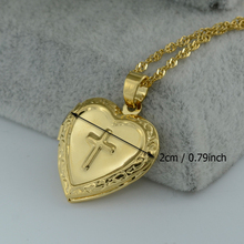 Anniyo Cross Box Necklace for Womens/Girl,Crucifix Pendant Gold Color Brass Real Charm Latin Cross Heart Necklaces #004302