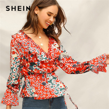 b8bf564687 SHEIN Multicolor Surplice Wrap Knot Bell Sleeve Flower Print Top Ruffle Blouse  Women Spring 2019 V