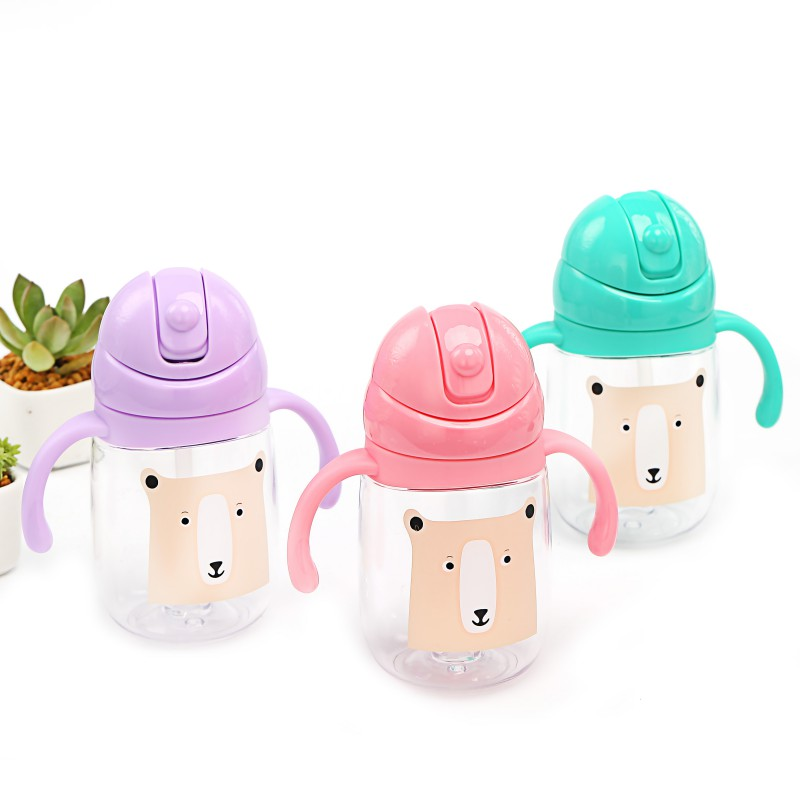 Newborn Baby Feeding Kids Drinking Bottles Infant Children Learning Sippy Cups With Double Handles Straws 260ML