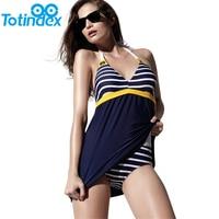 New Sexy Stripe Plus Size Padded Navy Blue Halter Skirt Swimwear Women One Piece Swimsuit Beachwear