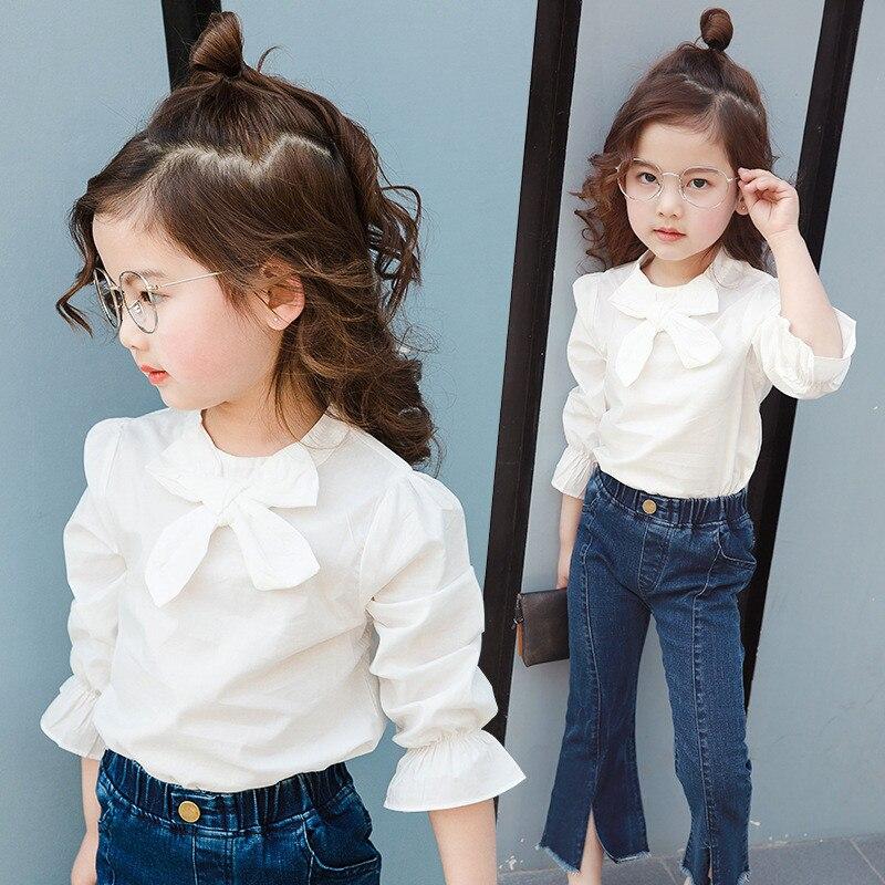 2018 Summer Autumn 3-9 Y Chiffon Flower Baby Girls Blouse White Clothes Child Long Sleeve School Girl Shirt Kids Tops