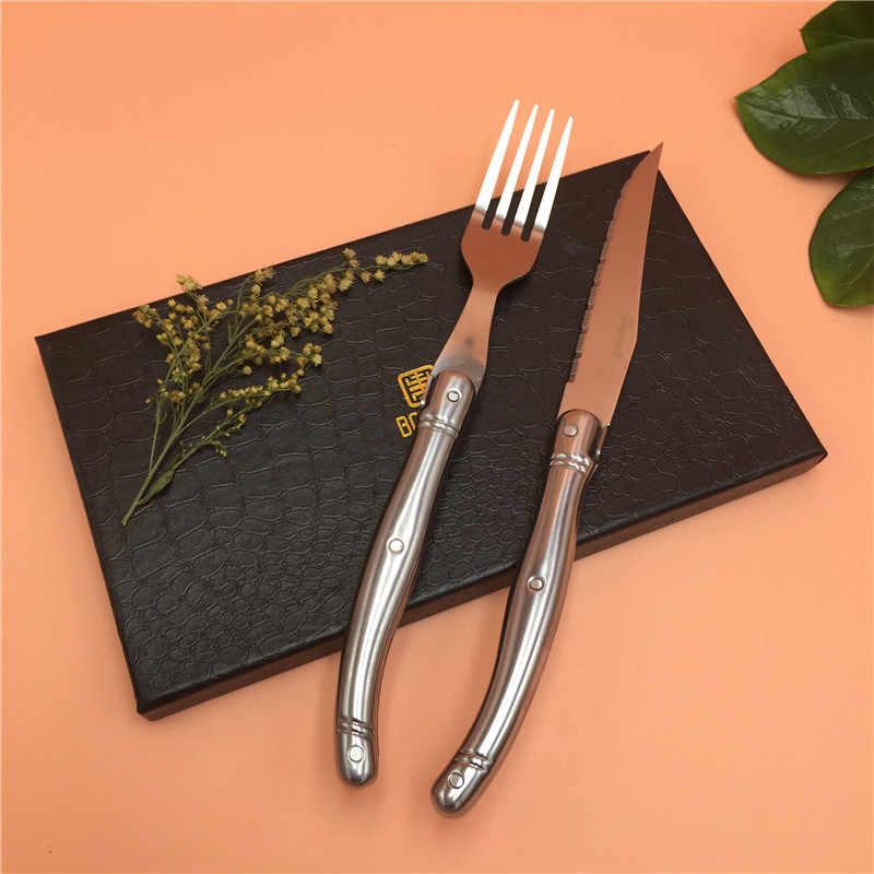 6 peças France laguiole aço inoxidável de Alta qualidade louça/talheres conjunto de mesa de Jantar Faca Garfo Conjunto
