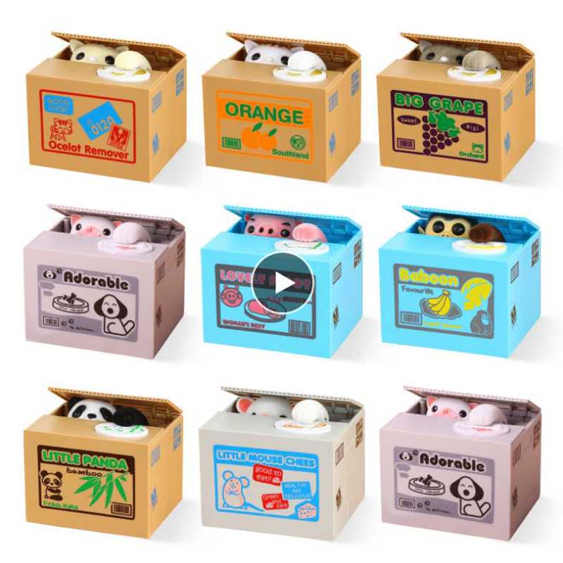 Permalink to money box monkey Panda Automatic Stealing Coin Cat Kitty Coins Cents Piggy Bank Saving Box Money Box Kids Money-box Child Gift