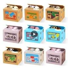 Caixa de dinheiro macaco panda roubo automático moeda gato kitty moedas centavos mealheiro economia caixa de dinheiro crianças moneybox para crianças presente