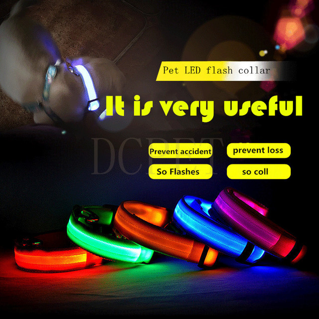 LED Dog Collar USB Rechargeable Night Safety Light-up Flashing Glow Small Pet Cat Collar LED Dog Collars Charging Dogs accessory