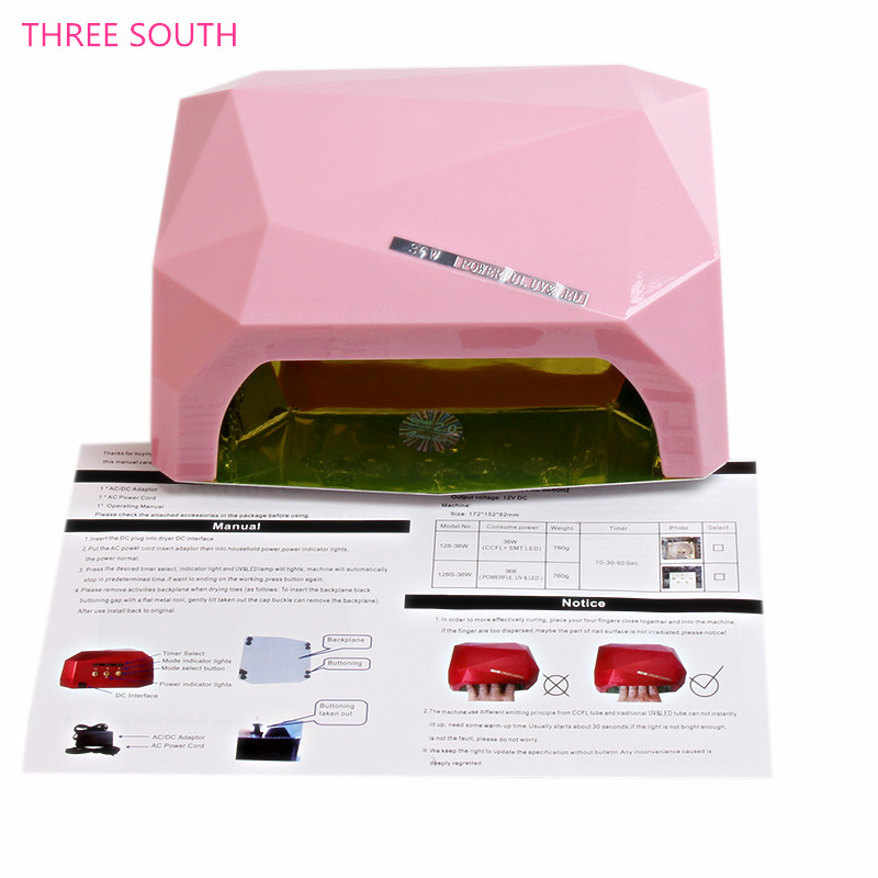 THREE SOUTH 36W AUTO UV Lamp LED Nail Lamp Nail Dryer Diamond Shaped Curing for UV Gel Nails Polish Nail Art Tools ultraviolet lamp for nails uv l mpara de u as de gel nail art gel cura uv l mpada de cura secador nail tools nail dryer led lamp