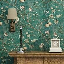 Retro Pastoral ไม่ทอผ้าพิมพ์วอลล์เปเปอร์ Apple ดอกไม้ต้นไม้นกห้องนั่งเล่นโซฟาทีวีพื้นหลังกำแพงตกแต่งวอลล์เปเปอร์