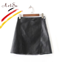 ArtSu Leather Skirts Women 2017 New Basic A Line Black PU Skirt Spring Autumn High Waist