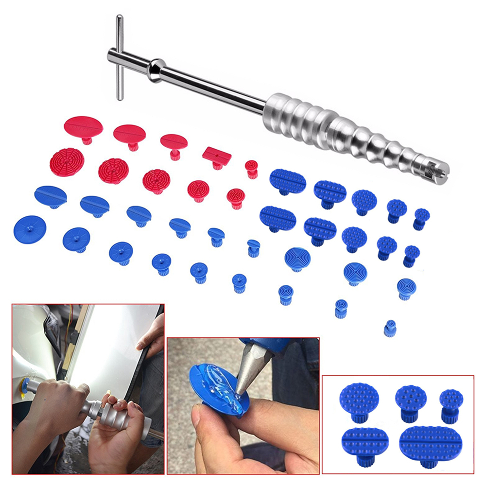 Auto Car Body Paintless Dent Repair Removal Tool Silver Slide Hammer T-Bar Glue Puller Tabs 33x tab PDR Tool Kit for small car цена