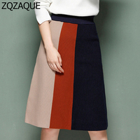 WOMEN 2017 Fall Winner Thick Warm Patchwork Color Skirt Fashion Lady S Retro Style High Waist