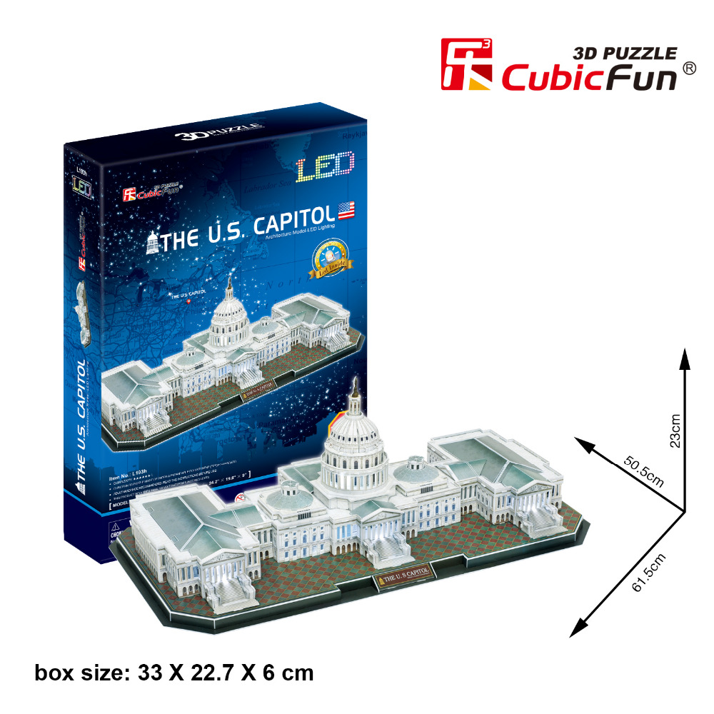 Candice guo 3D paper puzzle building model baby toy CubicFun architecture jigsaw game The Capitol Hill USA famous with LED 1pc талалаева е ред спокойной ночи