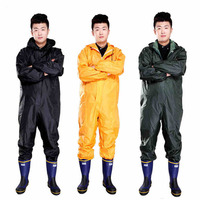 Men Waterproof Overalls Hooded Rain Coveralls Work Clothing Dust Proof Paint Spray Male Raincoat Workwear Safety