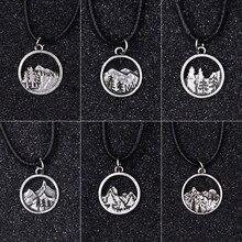SanLan природа горы сосны Кемпинг прекрасные круглые кулоны и подвески кожаный шнур ожерелье путешествия альпинист клуб подарок ювелирные изделия