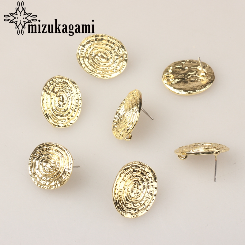 Golden Zinc Alloy Stud Earrings Spiral Round Connector 6pcs/lot  18*22mm For DIY Fashion Earrings Jewelry Making Accessories