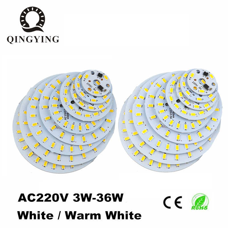 10pcs ac 220v led pcb SMD5730 3w 5w 7w 10w 12w 15w 18w 24w integrated ic driver White/ Warm White Light Source For LED Bulb