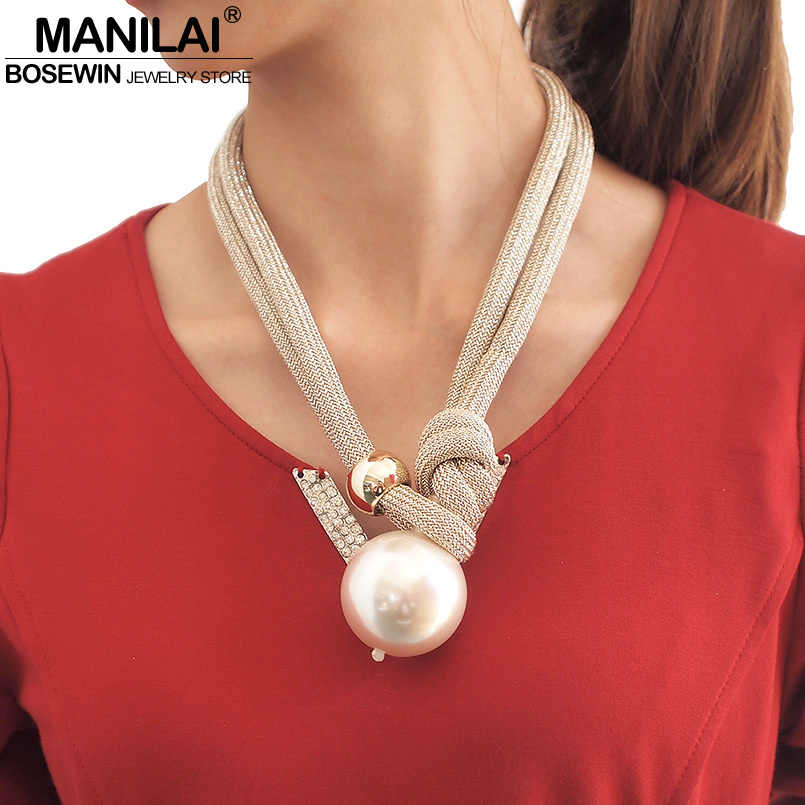 MANILAI Big Imitation Pearl Statement Chokers Necklaces For Women Fashion Thick Rope Adjustable Pendant Necklaces Jewelry