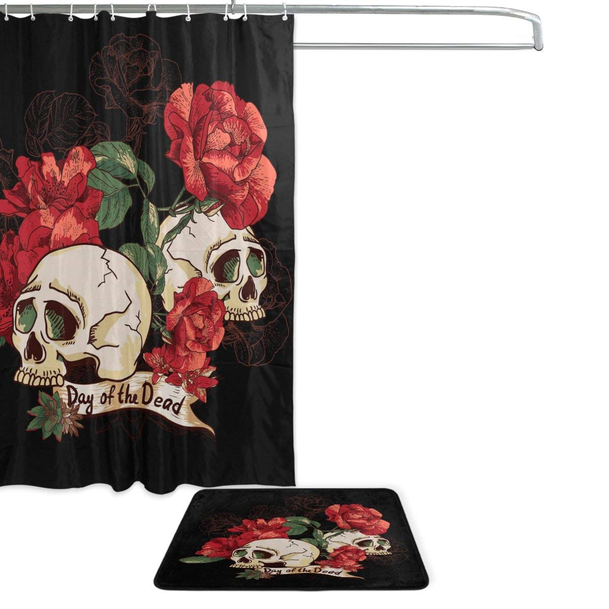Red Skull Bathroom Shower Curtain Waterproof Polyester