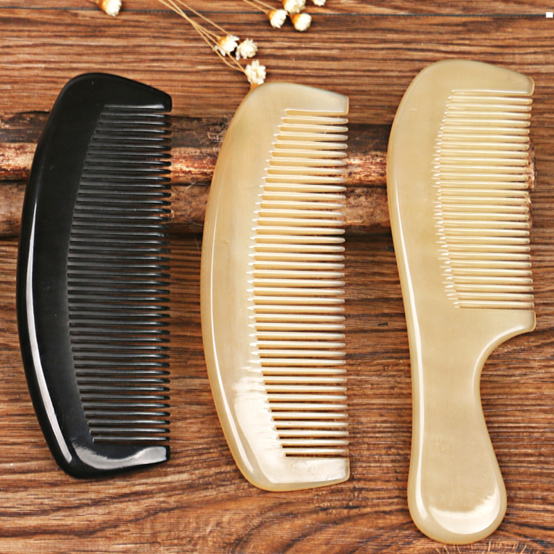Free Shipping 1piece Handmade Scalp Massage Scraping Health First-Class Ox Horn Comb Hair Care for Gift Wholesale hair care hight quality real ebony black comb 1 piece health care hair styling tools hair brushes best gift
