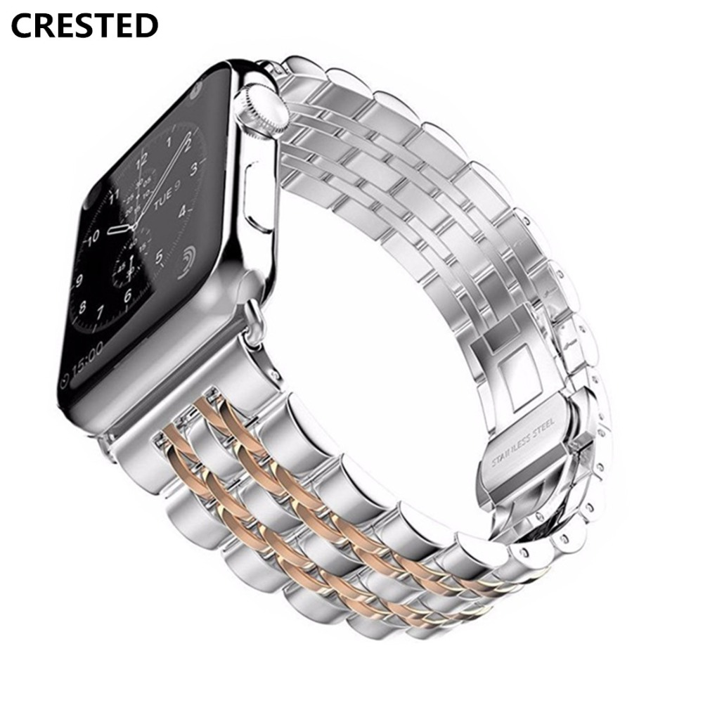 CRESTED Butterfly Loop Strap For Apple Watch band 42mm 38mm iwacth series 3 2 1 316L Stainless Steel Wrist bands Bracelet beltCRESTED Butterfly Loop Strap For Apple Watch band 42mm 38mm iwacth series 3 2 1 316L Stainless Steel Wrist bands Bracelet belt