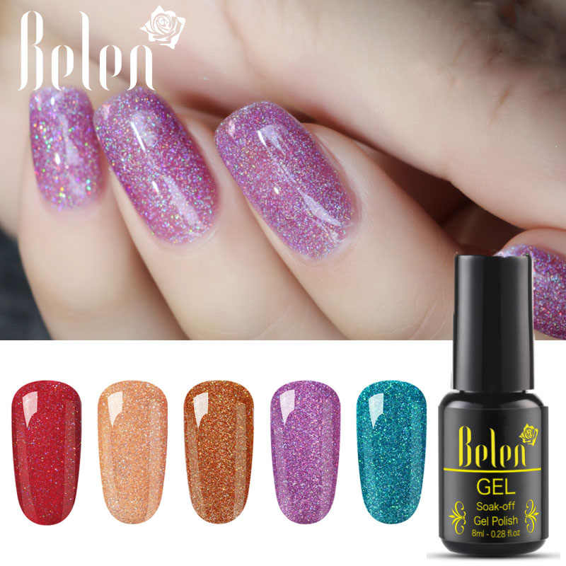 Belen Neon Bling Kuku Gel Polish 8 Ml Nail Art Semi Permanen Gel Varnish Primer untuk Kuku Manikur Lampu UV beruntung Lacquer