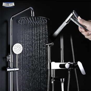 4 functions bathroom wall mounted shower set brass bath faucet 10 inch rain shower head with bidet sprayer faucet chrome plated - DISCOUNT ITEM  22% OFF All Category