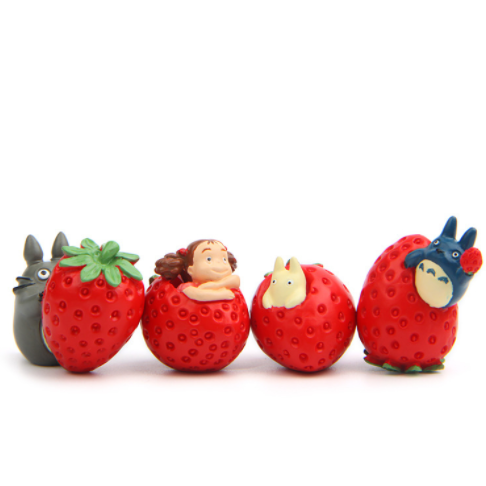 1Pcs/Set Kawaii Cat Strawberry Combination My Neighbor Totoro Models Action Figure Toys Kid's Gift 436