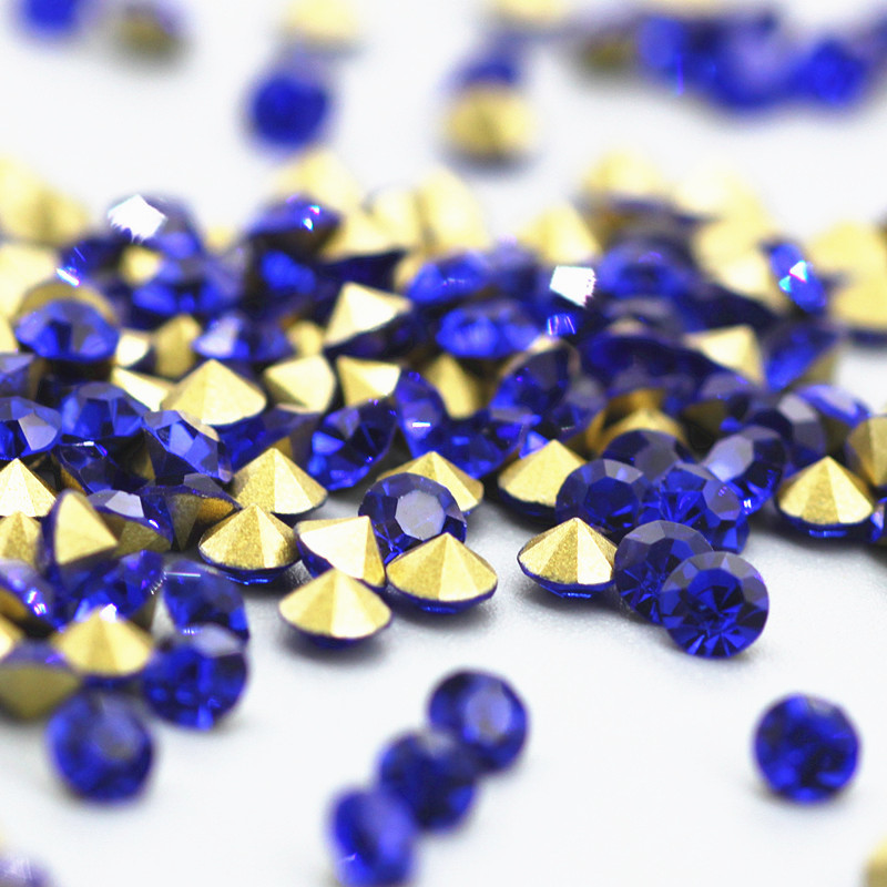 SS2-SS38 Sapphire Pointback Round Crystal Rhinestones Decoration Dark Blue Glass Beads Stones DIY Clothing Accessories