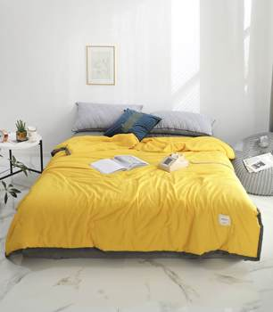 Solid Yellow Butterfly knot Bedspread Summer Quilt Tencel Blanket Comforter Bed Cover Quilting Home Textiles