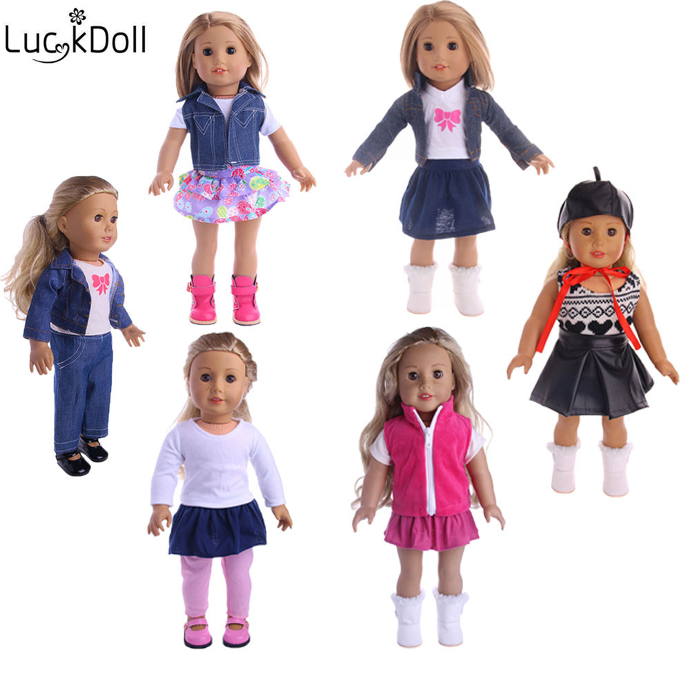 LUCKDOLL 6Styles 3Sets Of Various Styles Fit 18 Inch American 43cm Baby Doll Clothes Accessories,Girls Toys,Generation,Gift