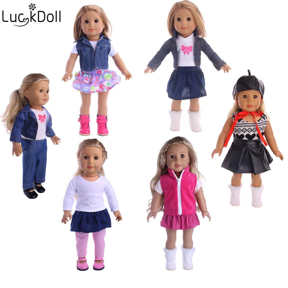 Lucky Doll 6 Styles 3 ensembles de différents Styles adaptés 18 pouces américain 43 cm bébé poupée vêtements accessoires, filles jouets, génération, cadeau