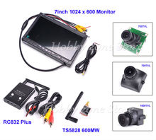 "New NO blue 7""  7 inch FPV LCD Color 1024 x 600 FPV Monitor Video Screen TS5828 Transmitter RC832 Plus Camera Combo"