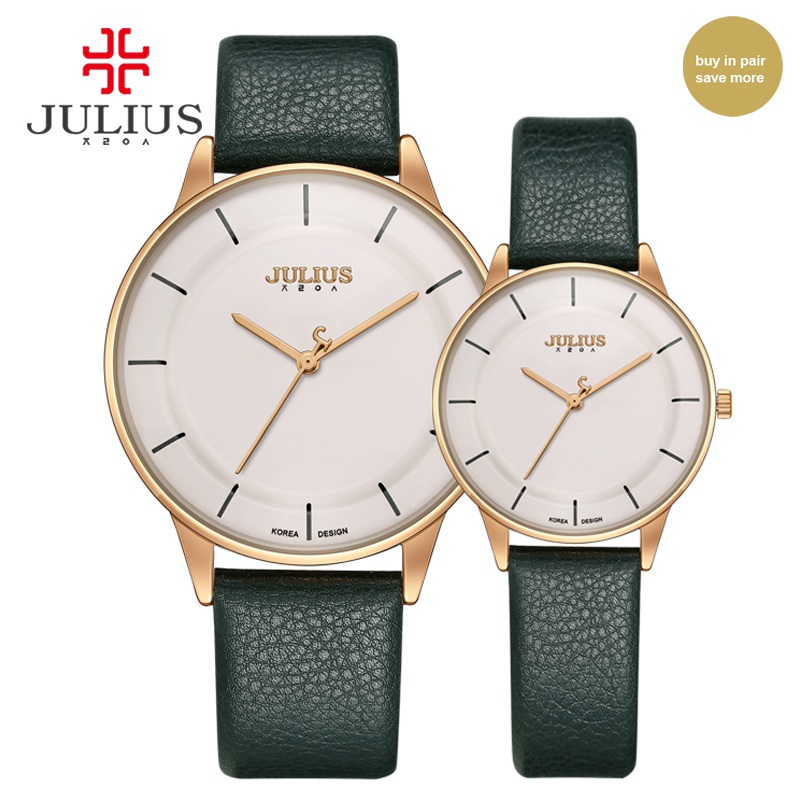 JULIUS Man Women Watch Couples Top Brand Luxury Simple Leather Strap Ultra Thin Watches Cheap Promotion Design Clock Hour JA-957