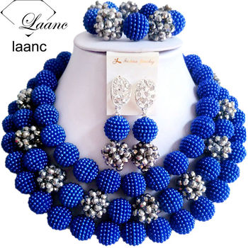 Laanc Royal Blue Wedding Jewelry Simulated Pearl and Crystal Nigerian Necklace African Beads for Women NAL476