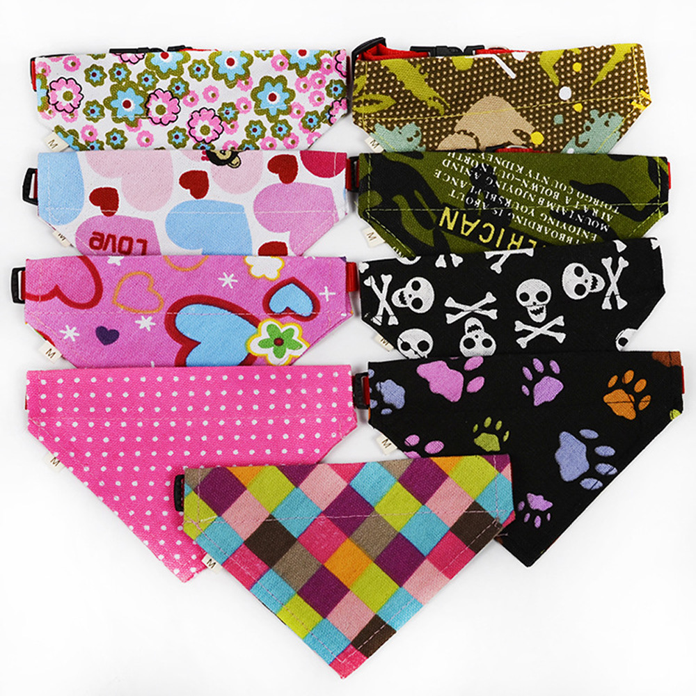 72 pcs/lot New Pet Puppy Dog Cat Bandanas Adjustable canvas&Nylon Dog Saliva Towel Collar L XL Size