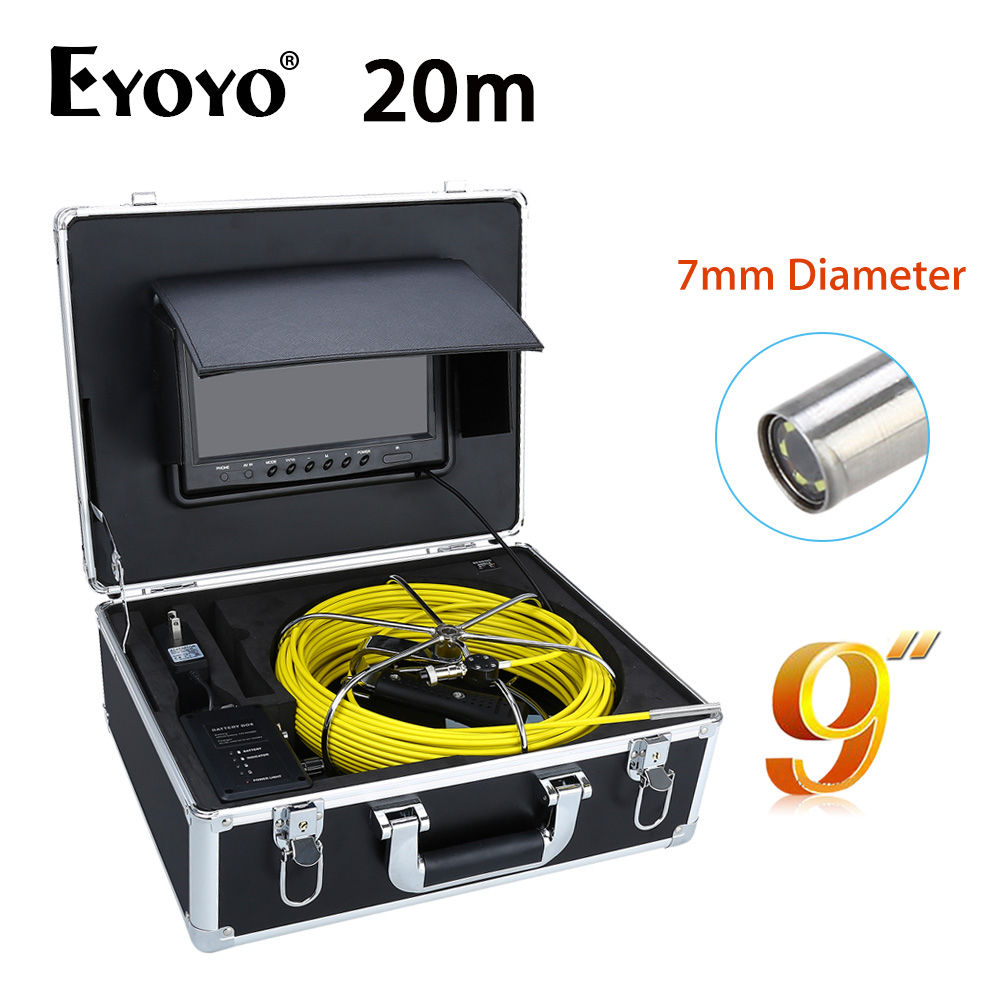 Eyoyo 20M 9 LCD 7mm Wall Drain Sewer Pipe Line Inspection Camera System Snake Inspection CCTV