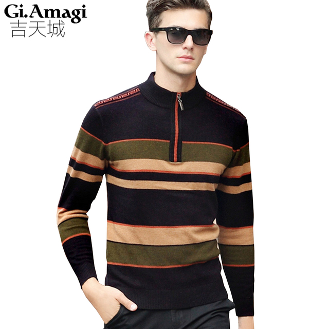 2017 Winter Thick Warm 100% Cashmere Sweater Men Turtleneck Brand Mens  Sweaters Slim Fit Pullover 7992715e10