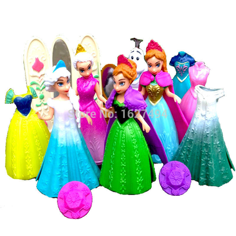 Elsa Anna Magic Clip Dress Statue Disny Princess Magiclip Dolls Snow Queen Anime PVC Action Figures Figurines Kids Toys Gift