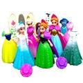 Elsa Anna Magic Clip Dress Statue Disny Princess Magiclip Dolls Snow Queen Anime PVC Action Figures Figurines Kids Toys Gift
