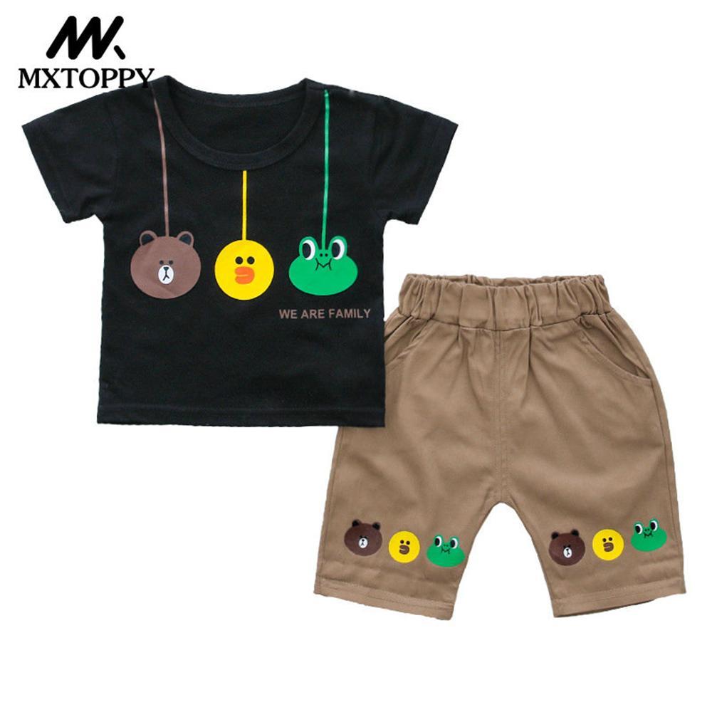 MXTOPPY малыша летняя одежда для мальчиков мода мультфильм одежда для маленьких мальчиков комплект футболка + штаны 2 шт. дети Костюмы для детск...