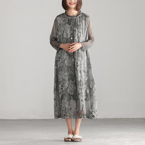 BUYKUD Vintage imprimé robe 2018 été femmes lin robe doublure femme demi manches gris robe mi-longue