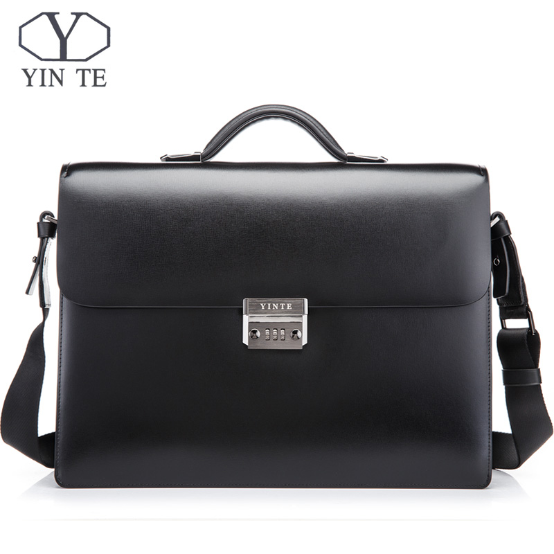 YINTE Men's Leather Briefcase Business Leather Lawyer Briefcase Messenger Shoulder Attache Case Men's Bag Portfolio T8146-11