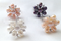 00538 white pink black purple rice shape freshwater pearl ring