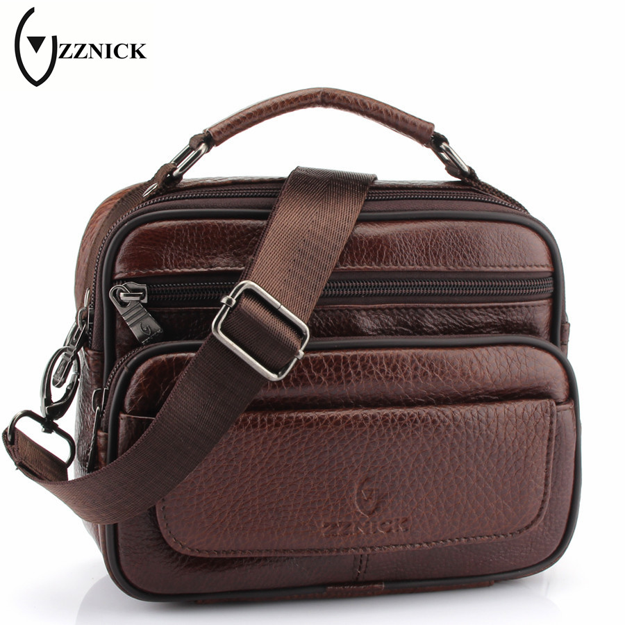 все цены на ZZNICK 2018 Hot Sale New Fashion Genuine Leather Men Bags Small Shoulder Bag Men Messenger Bag High Quality Handbags For Man