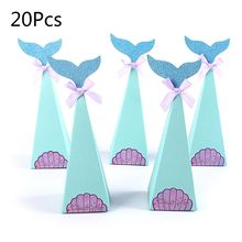 20Pcs/Set Fish Mermaid FishShell Sticker Bowknot Candy Box Birthday Party Gift Decorative Packaging Supply christmas