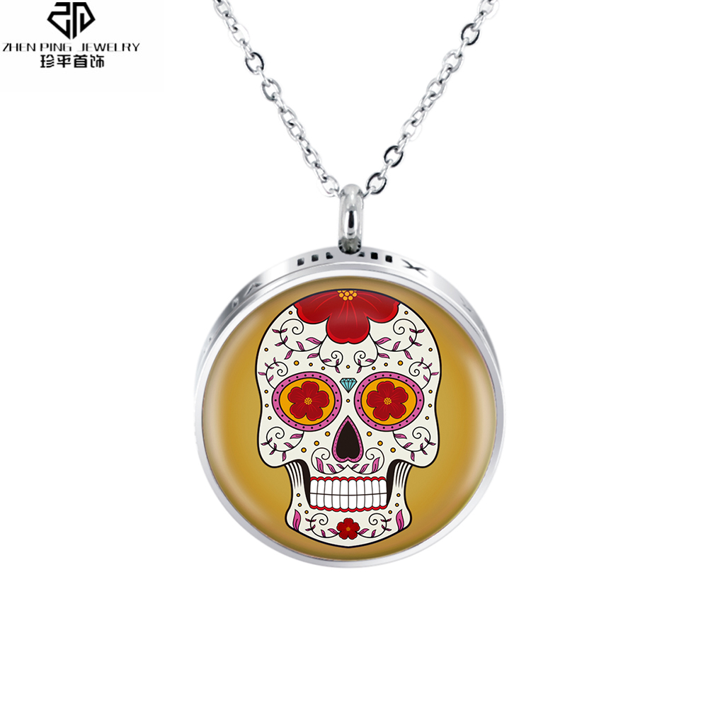 Stainless Steel Punk Skull Pendant Aromatherapy Essential Oil Diffuser Necklace Enamel Charms Perfume Locket
