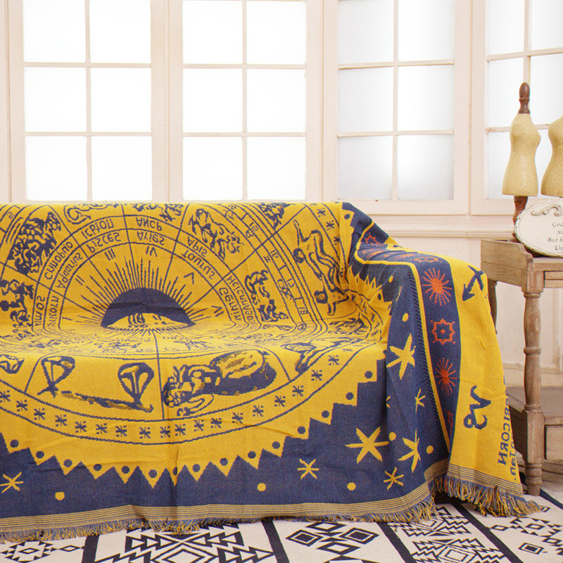 Cilected Constellation Tapestry Wall Hanging Yellow Wall Cloth ...
