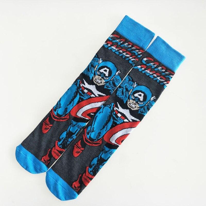 1 Pair Captain America Batman Spiderman Iron Man Superman Anime Men Cotton Socks