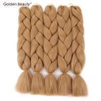 24 cal szydełkowe warkocze przedłużanie włosów włosy syntetyczne do warkoczy kolorowe Jumbo Twist Golden Beauty 100g blond różowy fioletowy zielony