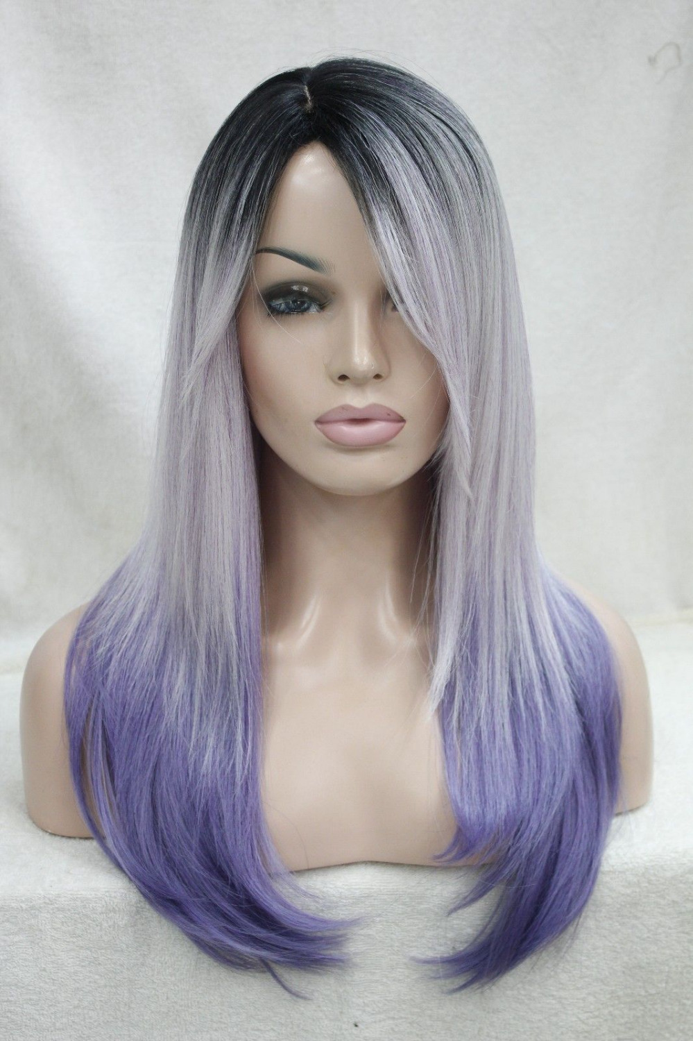 0000120 heat ok ombre black root with white and purple mix top quality straight long wigs
