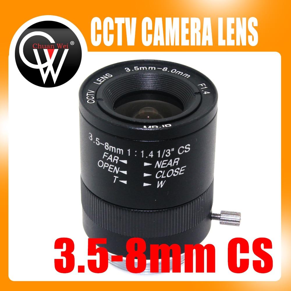 3.5-8mm CS lens CS Mount Varifocal Manual Iris CCTV Lens for CCTV Security Cameras BOX 8mm 12mm 16mm cctv ir cs metal lens for cctv video cameras support cs mount 1 3 format f1 2 fixed iris manual focus